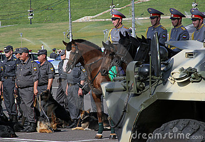 Tatarstan police days. Horses and dogs in police Editorial Photography