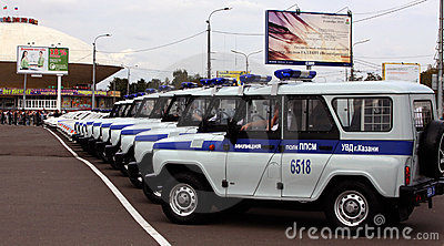 Tatarstan police days. Police cars Editorial Stock Image