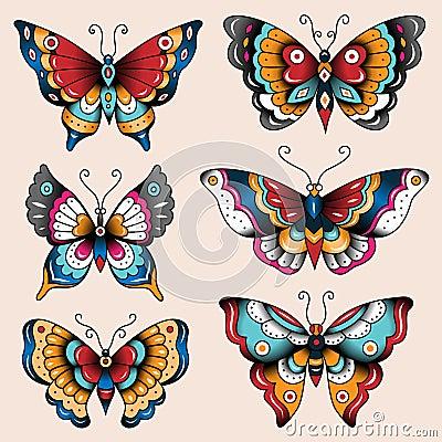Old school tattoo dagger through heart stock photos image - Tatoo Butterflies Stock Vector Image 43541647