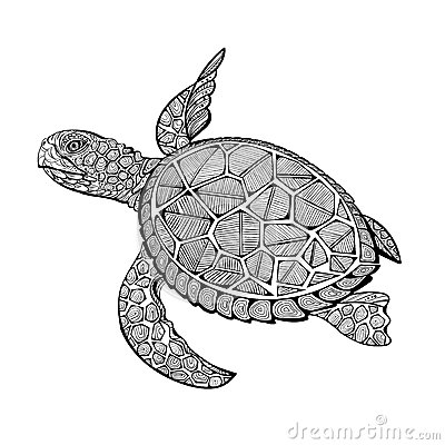 Tatoo Sea Turtle Stock Vector Image 66751588