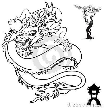 Format japonais de vecteur de setin de tatouage de dragon très facile ...