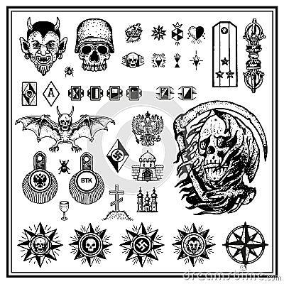 tatouages criminels russes de doigt illustration de vecteur image 41377629. Black Bedroom Furniture Sets. Home Design Ideas