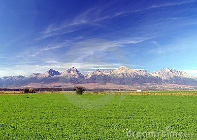 The Tatra Mountains & green field