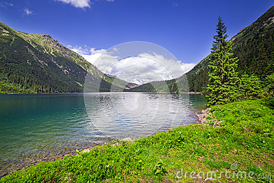 Tatra mountains and lake in Poland