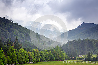 Tatra mountains in Zakopane at cloudy day