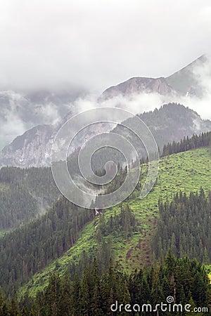 Tatra mountains in Zakopane at cloudy day