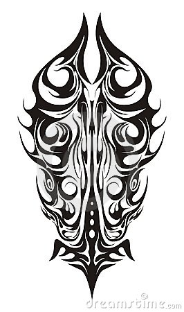 vertical abstract design for body-art or tattoo, isolated on a white ...