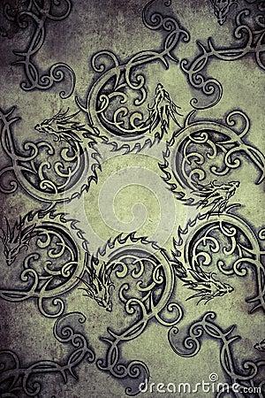Free Tattoo Art Design, Decorated With Tribal Gargoyle Stock Photos - 37468473