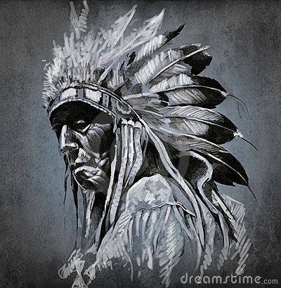 Free Tattoo Art, Portrait Of American Indian Head Stock Photography - 24141012
