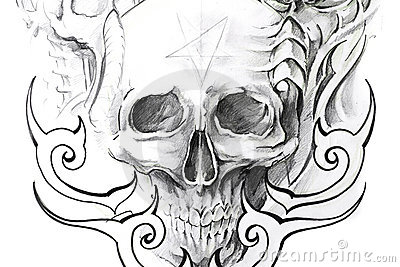 Tattoo art, sketch of a black skull