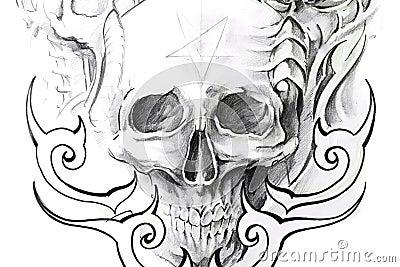 Tattoo art, sketch of a black skull