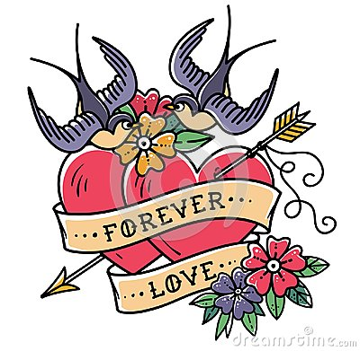 Free Tattoo Art. Tattoo Two Hearts Pierced By Arrow. Hearts With Flowers, Ribbon And Swallows. Forever Love. Valentines Day. Royalty Free Stock Images - 108175199