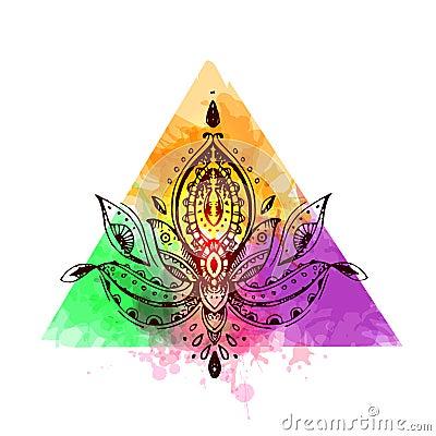 Tattoo beautiful flower Vector Illustration