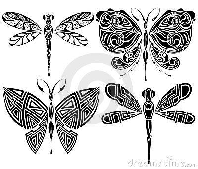 Tattoo design: butterfly,dragonfly