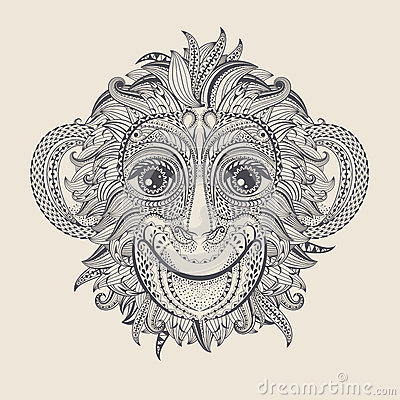 Free Tattoo Design Head Of The Monkey. Royalty Free Stock Photo - 68773805