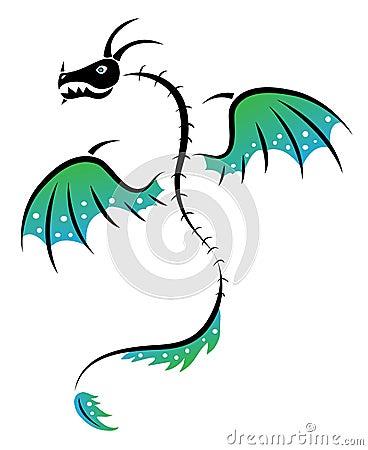 Royalty Free Stock Photos: Tattoo dragon skeleton. Image: 25574428