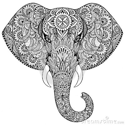 Free Tattoo Elephant With Patterns And Ornaments Royalty Free Stock Photo - 49817085