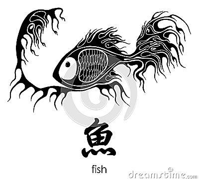 Tattoo fish. Hieroglyph means - fish