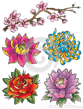 Free Tattoo Flower Set Stock Images - 33176964