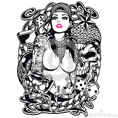 Free Tattoo Girl Shirt Design Stock Photography - 35443382