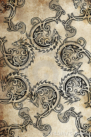 Free Tattoo Group Of Dragons, Ancient Decoration Stock Photography - 23922812