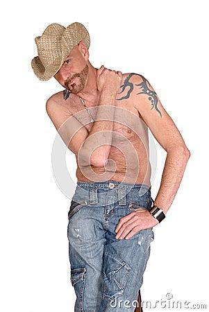 TATTOO, HAT WEARING MAN Attractive,