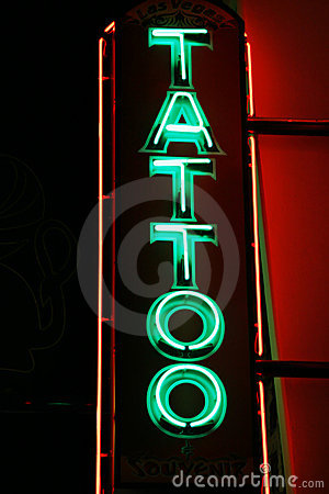 neon tattoo sign. Images: Tattoo neon lights