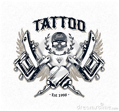 Tattoo studio poster stock vector image 44224987 for Art machine productions tattoo