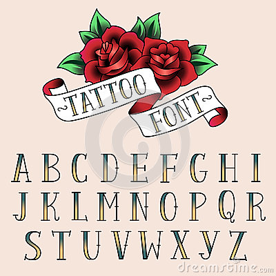 Free Tattoo Style Alfabeth Stock Images - 43541614