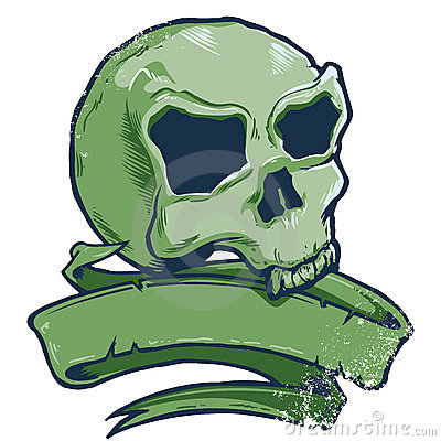 Tattoo style skull banner vector illustration