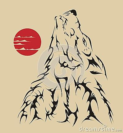 Tattoo style wolf