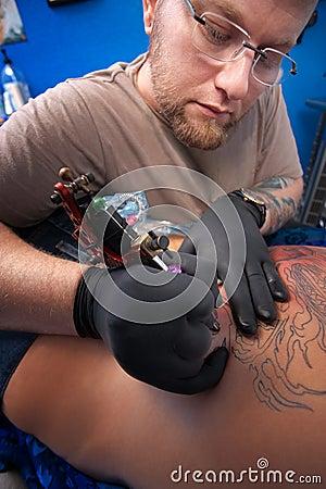 Tattoo Technician at Work