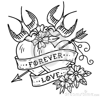 Free Tattoo Two Hearts Pierced By Arrow. Forever Love Stock Photography - 109300122