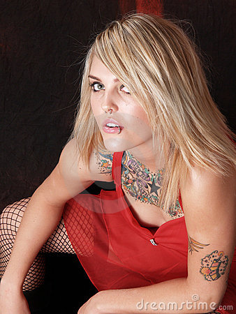 Tattooed Blonde Model