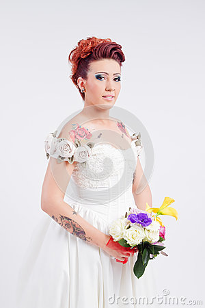 Tattooed bride portrait