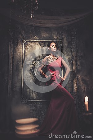 Free Tattooed Woman In Spooky Interior Royalty Free Stock Images - 46084259
