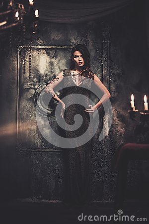 Free Tattooed Woman In Spooky Interior Royalty Free Stock Photo - 48893715