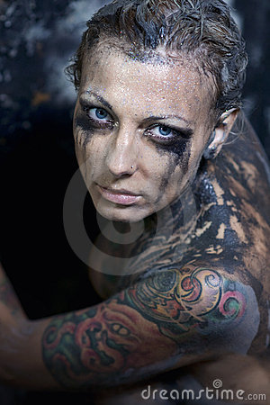 Tattooed young woman