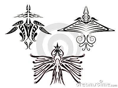 Tattoos of fantastic birds.