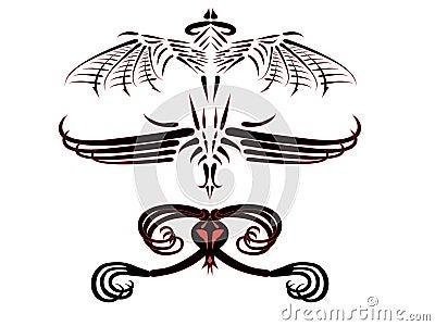 Tattoos of fantastic dragons.