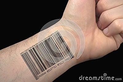 Tatuagem do código de barra.