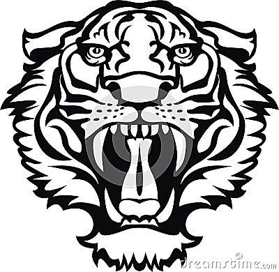 Inicio Gt Foto De Archivo Tatuaje Negroblanco Del Tigre Picture