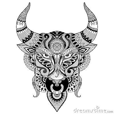 Taureau f ch de dessin pour livre de coloriage pour l 39 adulte le tatouage la conception de t - Dessin tete taureau ...