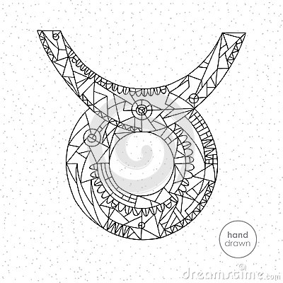 Taurus zodiac sign. Vector hand drawn horoscope illustration. Astrological coloring page. Vector Illustration