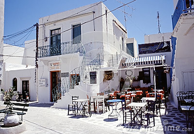 Taverna in Paros, Cyclades island Editorial Stock Photo