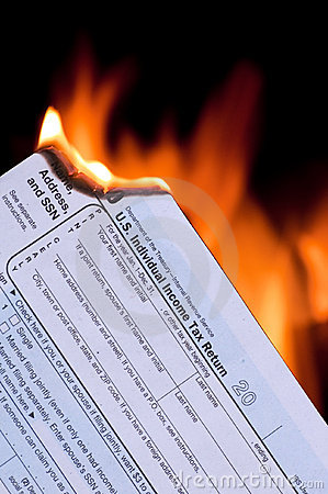 Tax form on fire