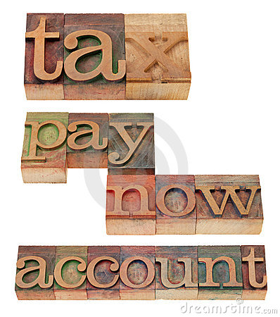 Tax, pay now, account - words