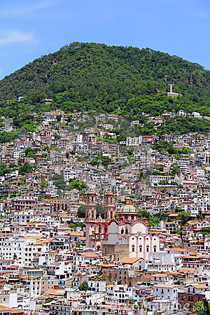 Taxco cathedral and houses
