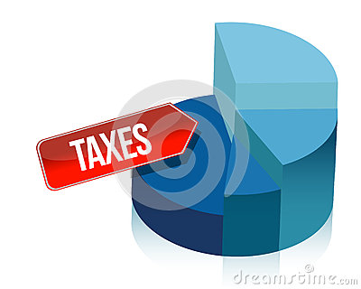 Taxes pie chart illustration