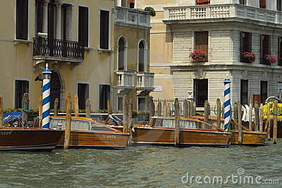 Taxi boat station in Venice